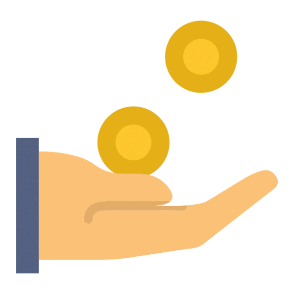 hand catching coins icon